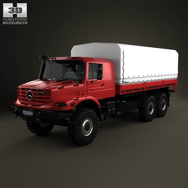 Mercedes benz zetros flatbed truck 3 axle 2008 3d model for 2008 mercedes benz truck