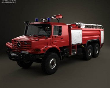3D model of Mercedes-Benz Zetros Rosenbauer Fire Truck 2008
