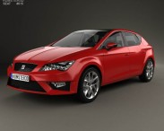 3D model of Seat Leon FR 5-door hatchback with HQ interior and engine 2013