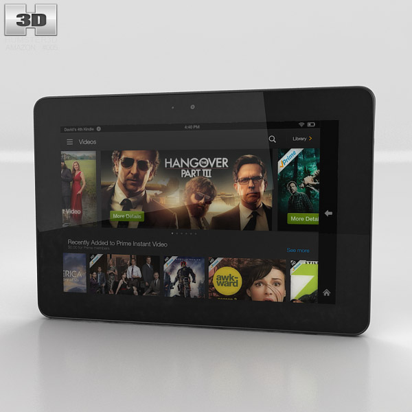 3D model of Amazon Kindle Fire HDX 7 inches