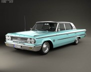 3D model of Ford Galaxie 500 4-door hardtop with HQ interior 1963