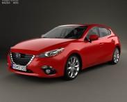3D model of Mazda 3 hatchback with HQ interior 2014