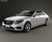3D model of Mercedes-Benz S-Class (W222) with HQ interior 2014