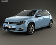 3D model of Volkswagen Golf 5-door with HQ interior 2013