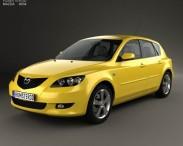 3D model of Mazda 3 hatchback 2003