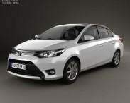 3D model of Toyota Yaris sedan with HQ interior 2014