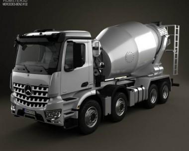 3D model of Mercedes-Benz Arocs Mixer Truck 2013