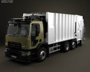 3D model of Renault D Wide Rolloffcon Garbage Truck 2013
