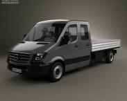 3D model of Mercedes-Benz Sprinter Drop Side Double Cab 2013