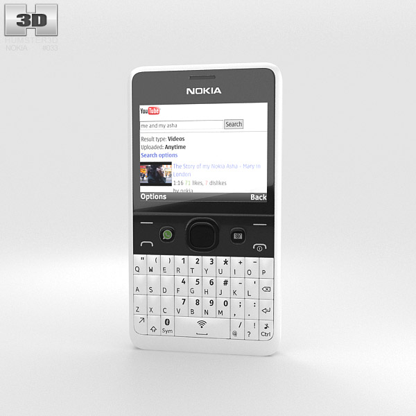 Nokia Asha 210 White 3D model - Humster3D