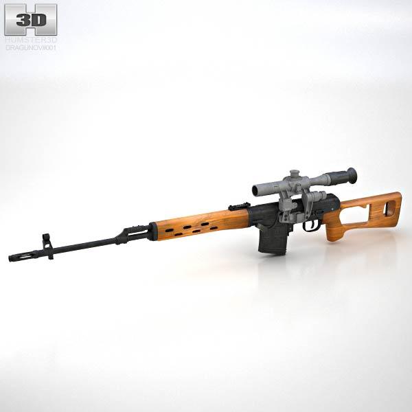 Dragunov Sniper Rifle (SVD) 3D model - Humster3D