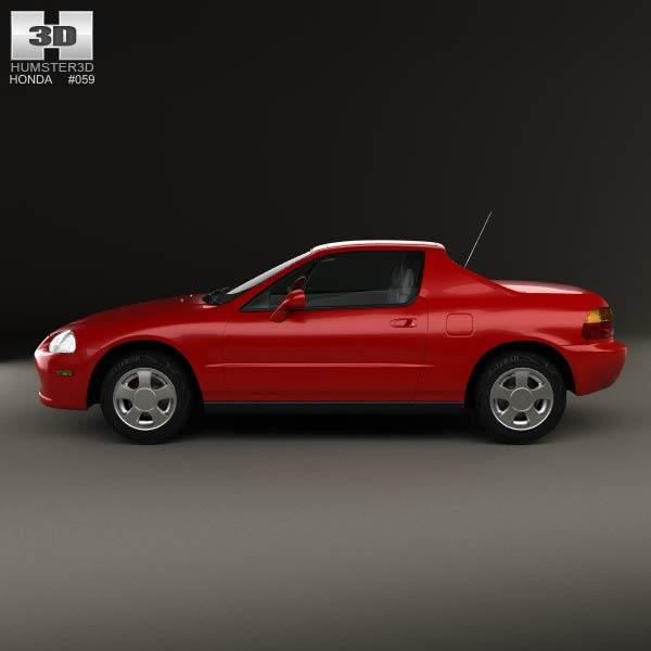 Honda civic del sol 1993 3d model humster3d for Honda civic del sol