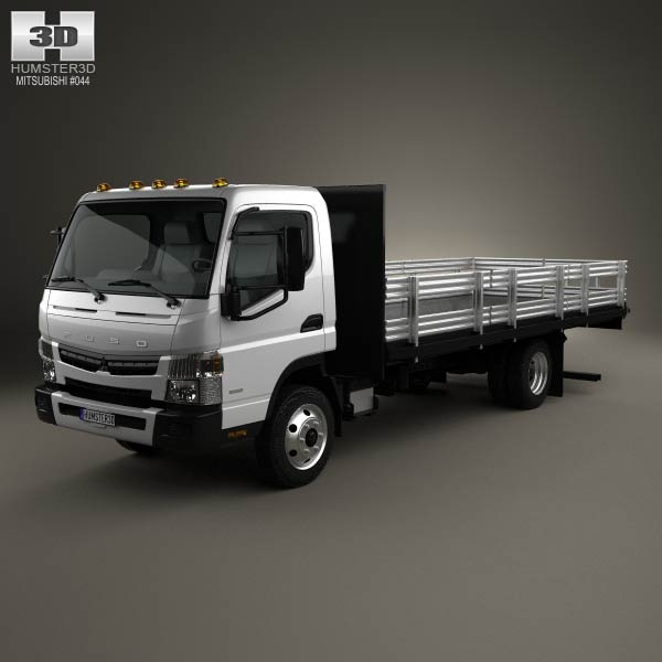 3D model of Mitsubishi Fuso Flatbed Truck 2013