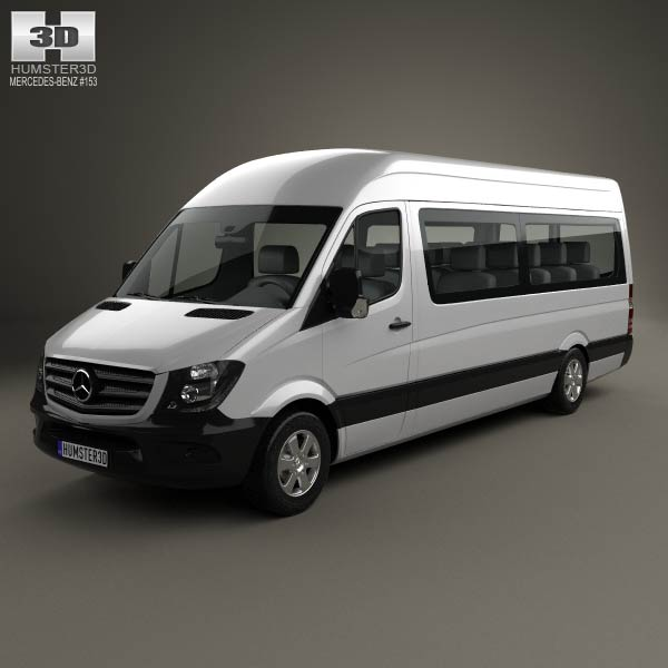 Mercedes benz sprinter passenger van lwb hr 2013 3d model for Mercedes benz sprinter passenger