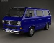 3D model of Volkswagen Transporter (T3) Passenger Van 1990