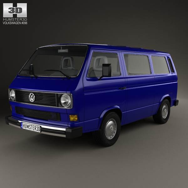 Volkswagen Transporter T3 Passenger Van 1990 3d Model