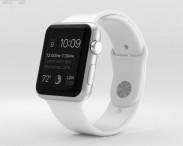 3D model of Apple Watch Sport 42mm Silver Aluminum Case White Sport Band