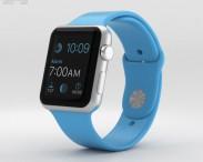 3D model of Apple Watch Sport 42mm Silver Aluminum Case Blue Sport Band