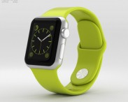 3D model of Apple Watch Sport 38mm Silver Aluminum Case Green Sport Band