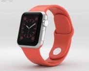 3D model of Apple Watch Sport 38mm Silver Aluminum Case Pink Sport Band
