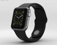3D model of Apple Watch Sport 38mm Gray Aluminum Case Black Sport Band