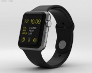 3D model of Apple Watch Sport 42mm Gray Aluminum Case Black Sport Band