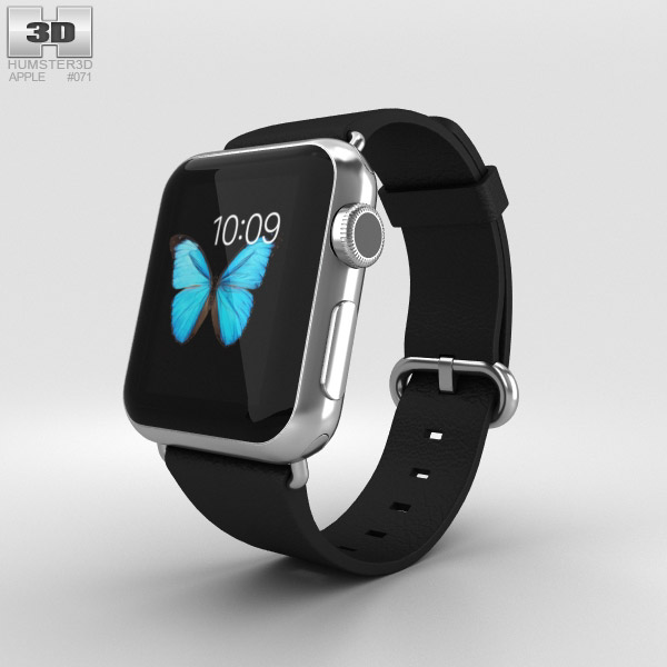 3D model of Apple Watch 38mm Stainless Steel Case Black Classic Buckle