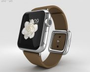 3D model of Apple Watch 38mm Stainless Steel Case Brown Modern Buckle
