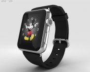 3D model of Apple Watch 42mm Stainless Steel Case Black Classic Buckle