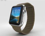 3D model of Apple Watch 42mm Stainless Steel Case Brown Leather Loop