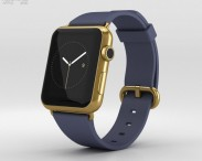 3D model of Apple Watch Edition 42mm Yellow Gold Case Blue Classic Buckle