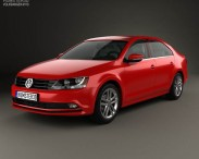 3D model of Volkswagen Jetta with HQ interior 2015