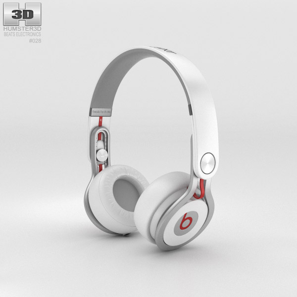 3D model of Beats Mixr High-Performance Professional White