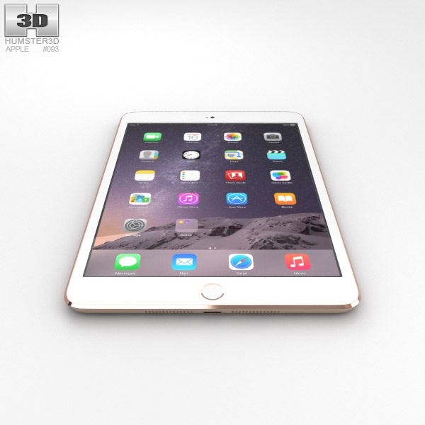 Apple iPad Mini 3 Gold 3D model - Humster3D