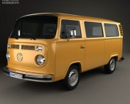 3D model of Volkswagen Transporter (T2) Passenger Van 1972