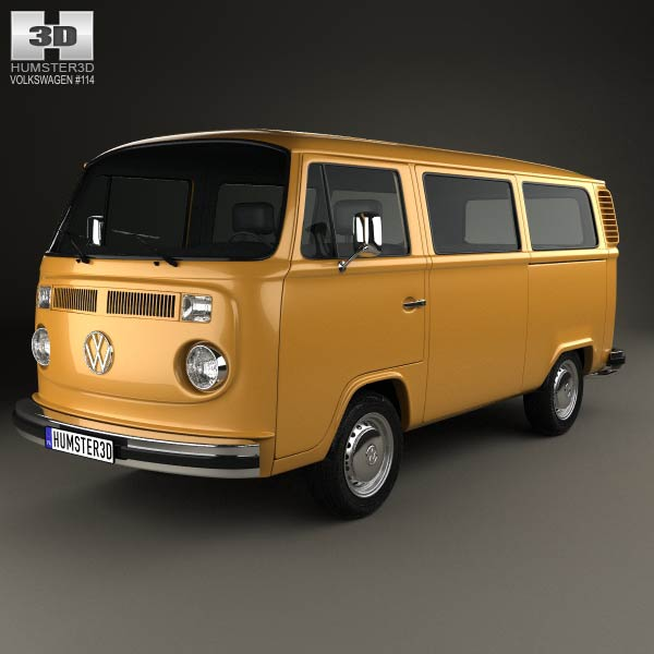 volkswagen transporter t2 passenger van 1972 3d model humster3d. Black Bedroom Furniture Sets. Home Design Ideas