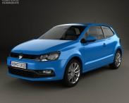 3D model of Volkswagen Polo 3-door 2014