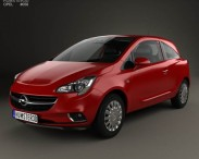 3D model of Opel Corsa (E) 3-door with HQ interior 2014