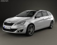 3D model of Peugeot 308 SW with HQ interior 2014