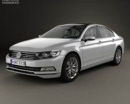 3D model of Volkswagen Passat (B8) sedan with HQ interior 2014
