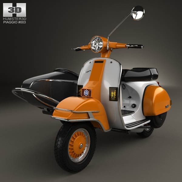 piaggio vespa px 200 sidecar 1998 3d model humster3d. Black Bedroom Furniture Sets. Home Design Ideas