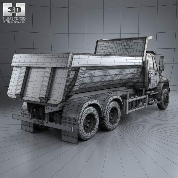 Dump Truck 3 Axles : International durastar dump truck axle d model