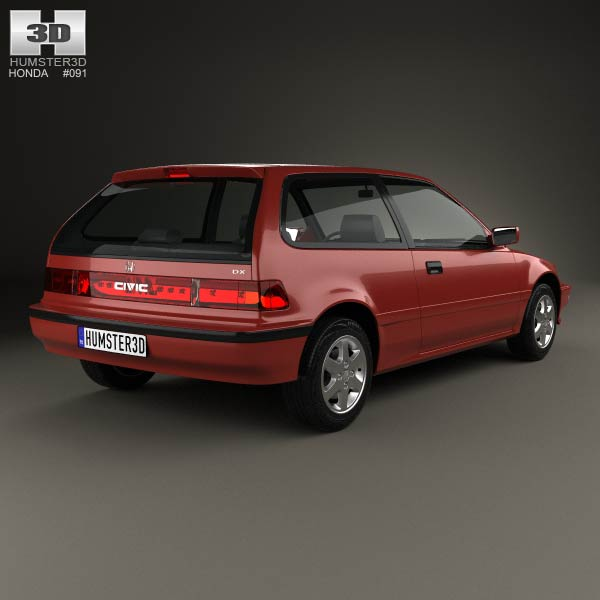 honda civic hatchback 1987 3d model humster3d. Black Bedroom Furniture Sets. Home Design Ideas