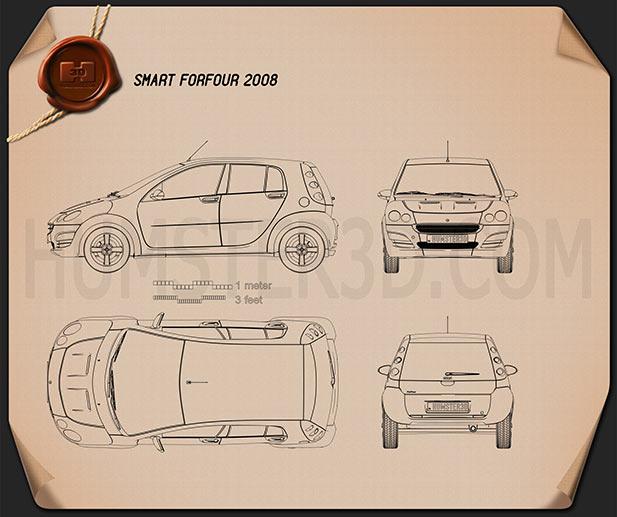 Smart Forfour 2006 3d Model: Smart Forfour 2006 Blueprint Blueprint