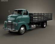 3D model of Chevrolet COE Flatbed Truck 1948