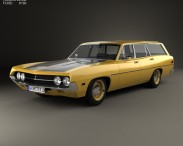 3D model of Ford Torino 500 Station Wagon 1971