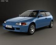 3D model of Honda Civic hatchback 1991