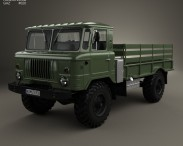 3D model of GAZ 66 Flatbed Truck 1964
