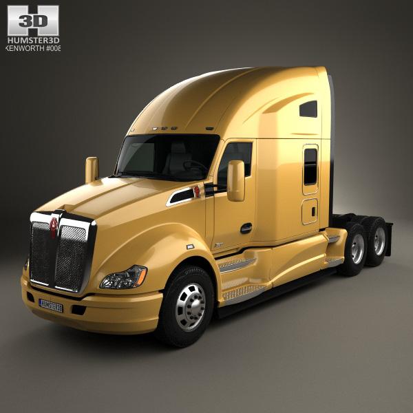 3D model of Kenworth T680 Tractor Truck 3-axle 2012