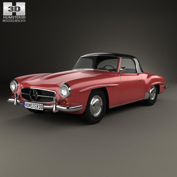 3D model of Mercedes-Benz SL-class (R121) hardtop 1955